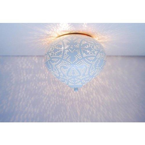 Oosterse plafondlamp filigrain wit/goud