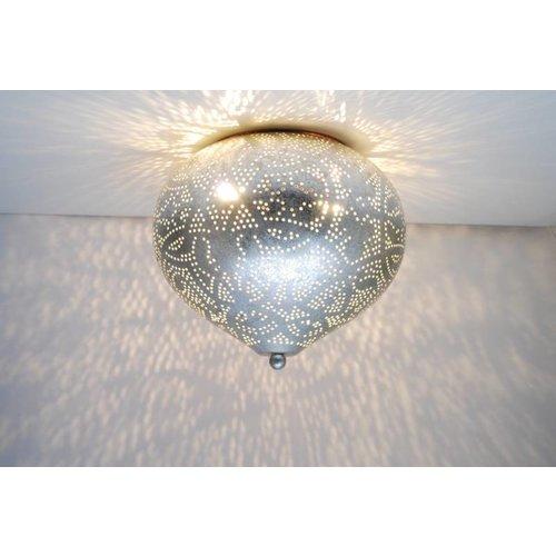 Oosterse plafondlamp filigrain zilver
