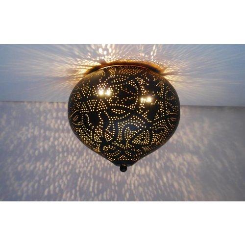 Oosterse plafondlamp filigrain zwart/goud