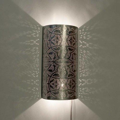Oosterse wandlamp filigrain zilver