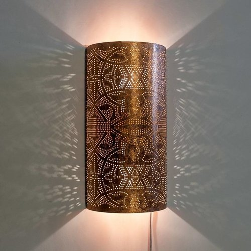 Oosterse wandlamp filigrain koper