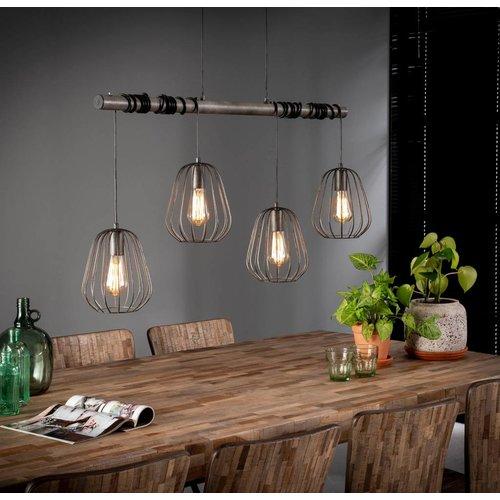 Industrieel hanglamp 4xØ18 lampoon + 4 led gloeilampen cadeau