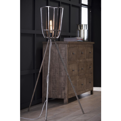 Industriele vloerlamp Ø30 basket driepoot + led gloeilamp cadeau