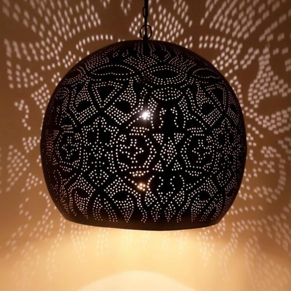 Hanglamp Ameera zwart/goud bol - in 2 diameters verkrijgbaar