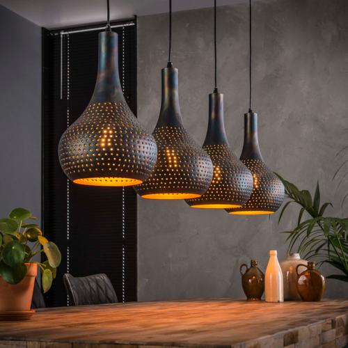 Hanglamp Ciara kleur zwart + 4 led lampen cadeau