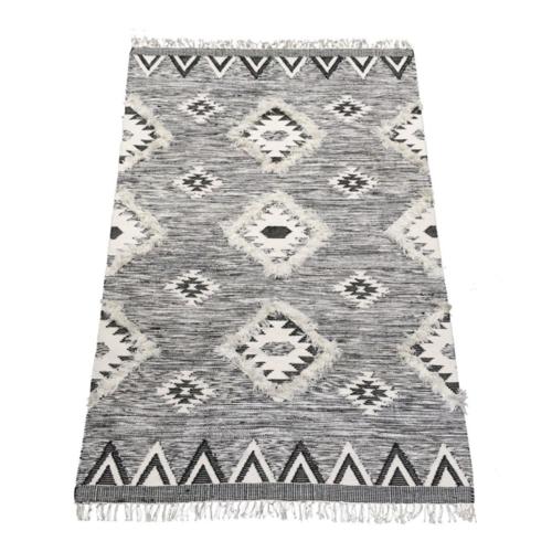 Vloerkleed wol - grafisch zwart/wit in 3 maten