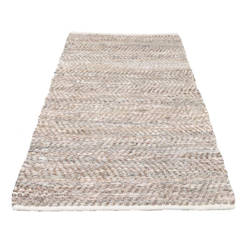 Vloerkleed leer & jute - naturel 80x140cm