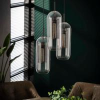 Hanglamp 3xØ15 getrapt cilinder glas + 3 led gloeilampen cadeau