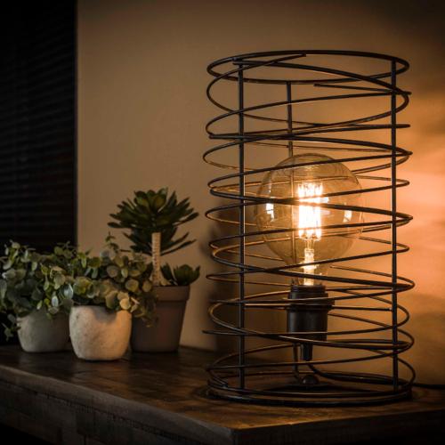 Tafellamp spiraal Ø22 cilinder + led gloeilamp cadeau