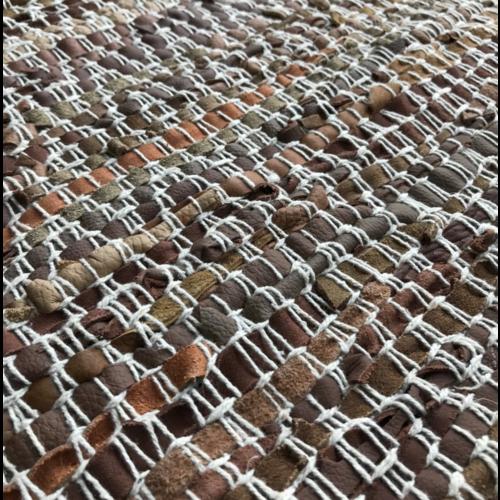 Vloerkleed leer - bruin - diamant/ wit stiksel in 4 maten