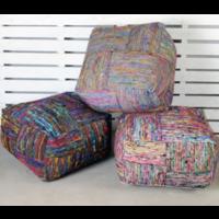 Poef Silk Lane zijde katoen in 2 kleuren