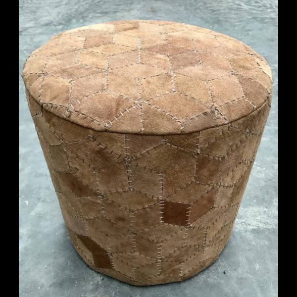 Poef ø 40 cm Suède Geometrisch