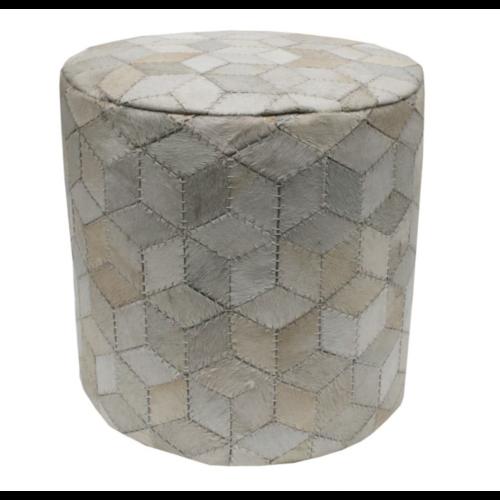 Poef rond huid wit geometrisch patroon
