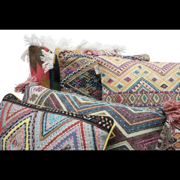 Kussen Katoen met Ethnic Wyberpatroon Kleurrijk 50x50cm