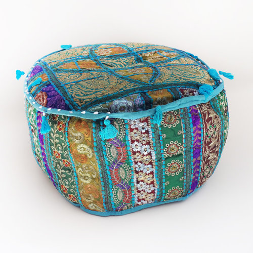 Oosterse poef patchwork blauw/multicolor