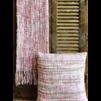 Deken acryl & wol geweven roze