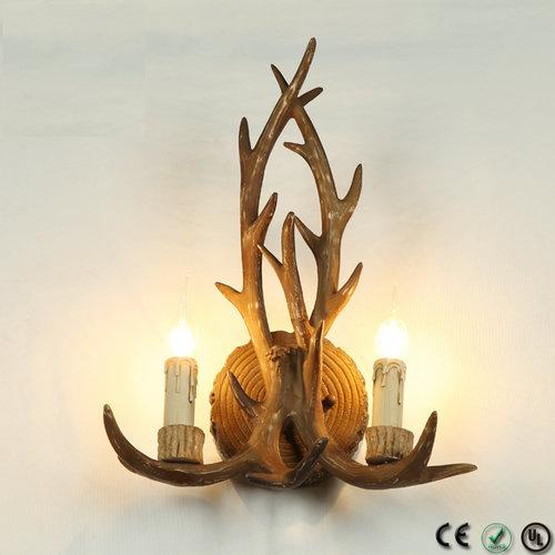 Gewei wandlamp - 2 lichts