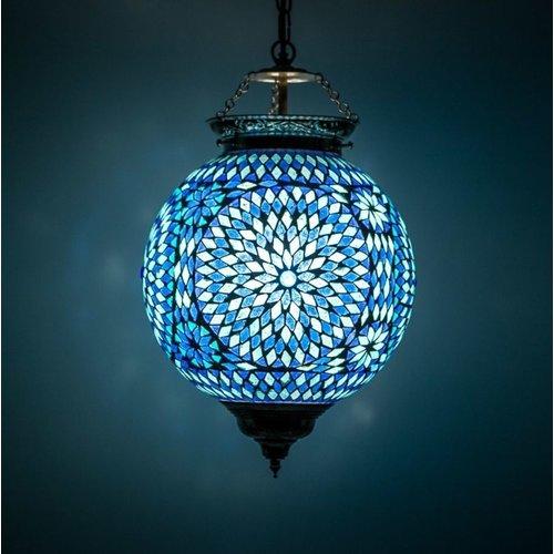 Hanglamp bol Roya blauw in 2 maten