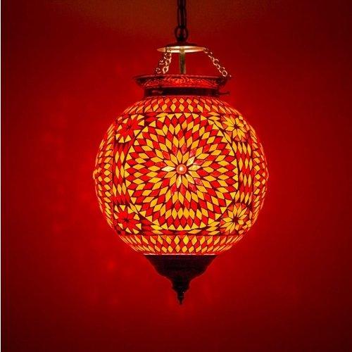 Hanglamp bol Roya rood-oranje in 2 maten