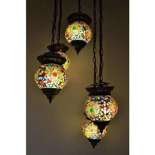 Hanglamp 5 bol Leila multi colour