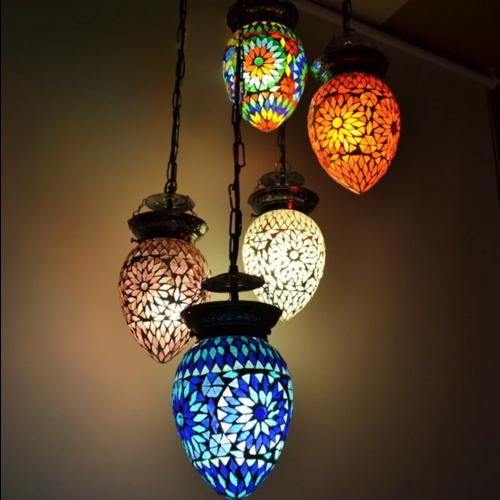 Hanglamp 5 bol Roya Papaya 5 kleuren