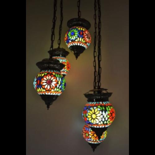 Hanglamp 5 bol Roya multi colour