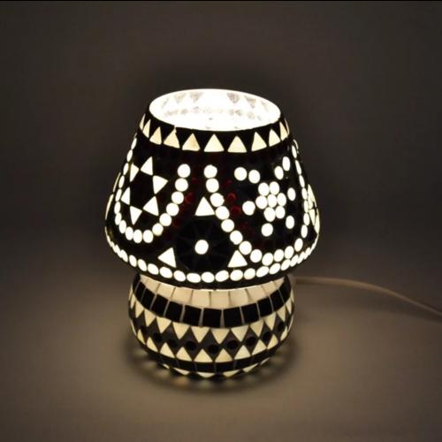 Tafellamp Mazel zwart-wit