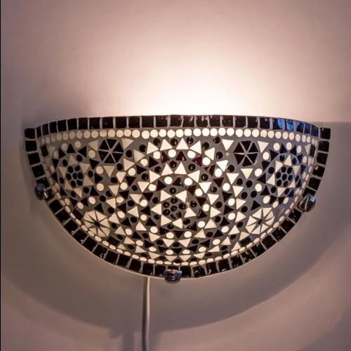 Wandlamp Cantara zwart-wit