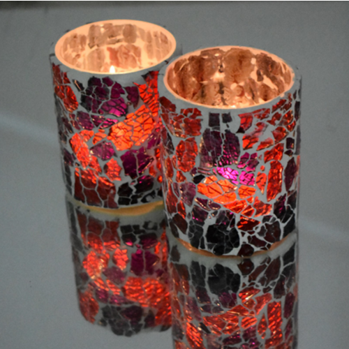 Crackled glass waxinehouder cilinder - Rood/Paars
