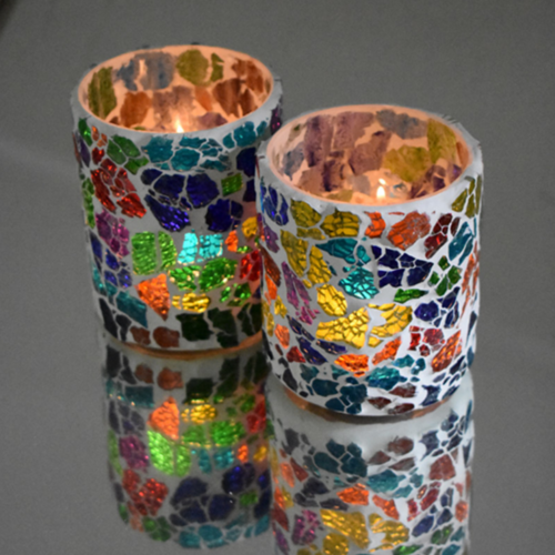 Crackled glass waxinehouder cilinder - multi-colour