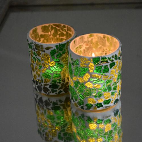 Crackled glass waxinehouder cilinder - groen