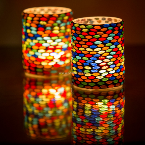 Waxinehouder cilinder - mozaïek - multi colour
