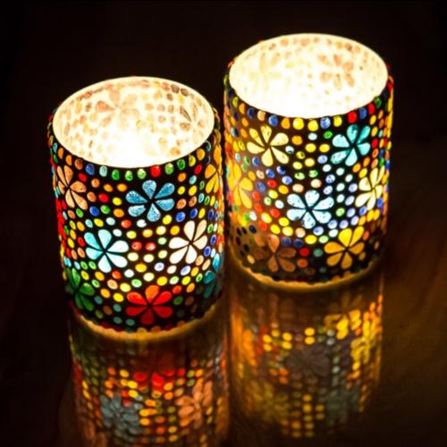 Waxinehouder cilinder - mozaïek - multi colour - flower design