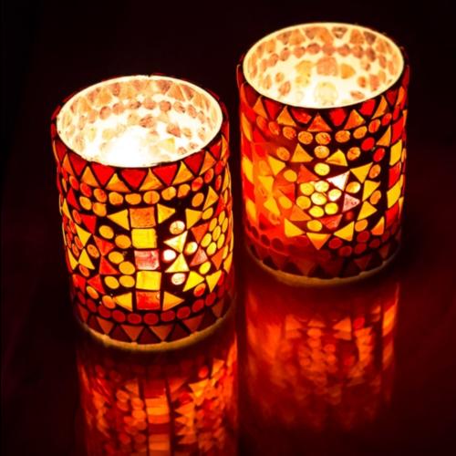 Waxinehouder cilinder - mozaïek rood/oranje - indian design