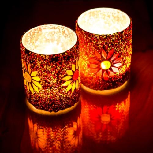 Waxinehouder cilinder - mozaïek & kralen - rood/oranje