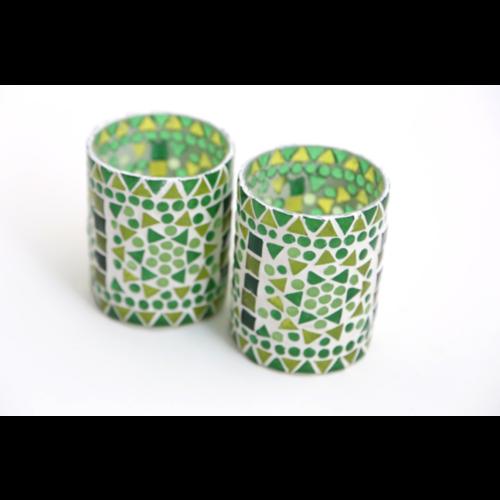 Waxinehouder cilinder - mozaïek groen - indian design