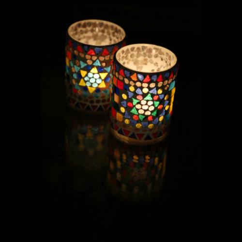 Waxinehouder cilinder - mozaïek multi colour - indian design