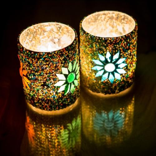 Waxinehouder cilinder - mozaïek & kralen - multi colour