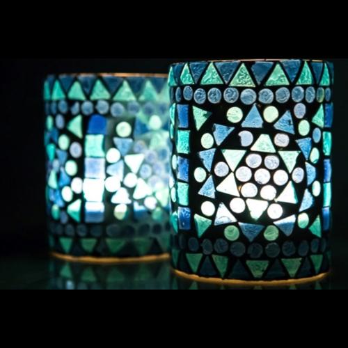 Waxinehouder cilinder - mozaïek blauw - indian design