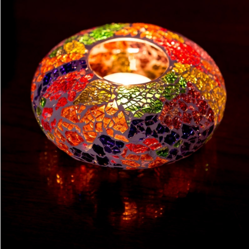 Oosterse waxinehouder crackled glass - ufo multi-colour