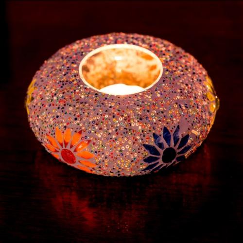 Oosterse waxinehouder mozaïek & kralen - ufo  multi-colour