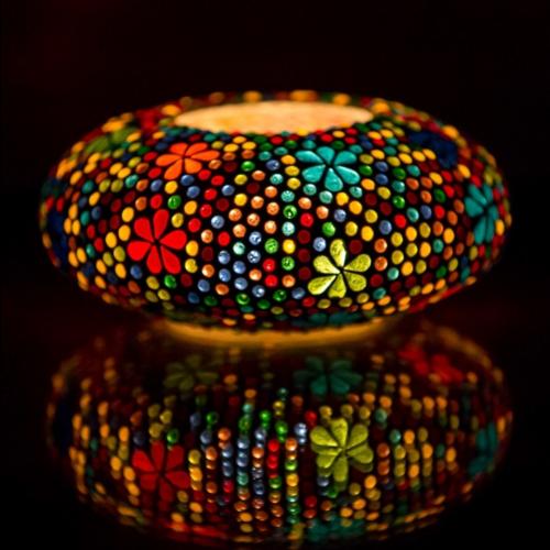 Oosterse waxinehouder mozaïek - ufo multi-colour
