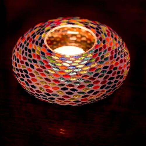 Oosterse waxinehouder mozaïek - ufo seed design multi-colour