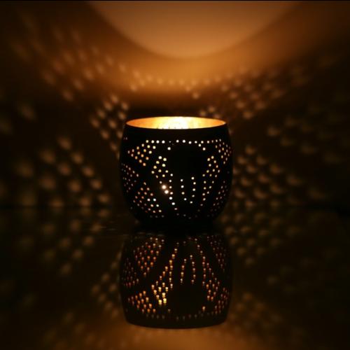 oosterse waxinehouder bol - filigrain stijl zwart-goud