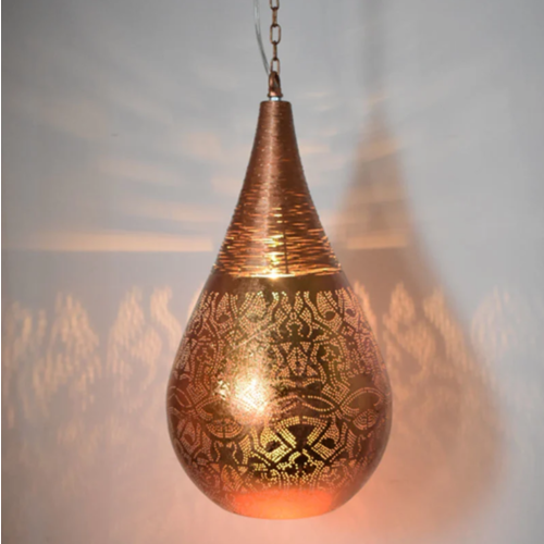 Hanglamp Ameera koper druppel met draad in 2 maten