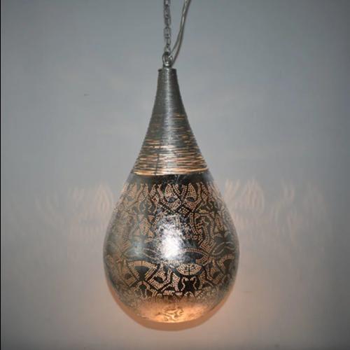 Hanglamp Ameera zilver druppel met draad in 2 maten