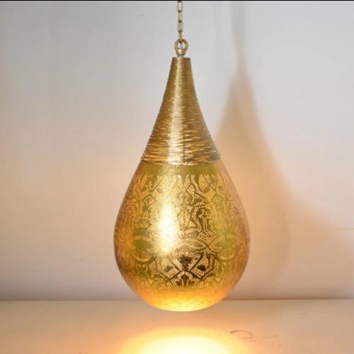 Hanglamp Ameera goud druppel met draad in 2 maten