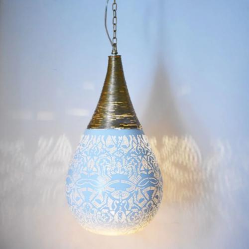 Hanglamp Ameera wit/goud druppel met draad in 2 maten