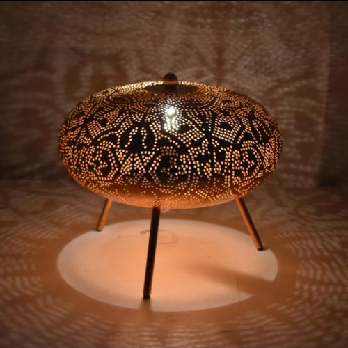 Tafellamp Ameera filigrain ufo vintage koper