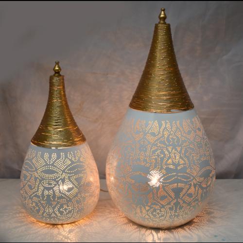 Tafellamp Ameera filigrain druppel wit/goud in 2 maten